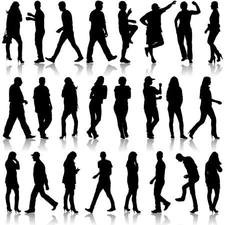 black people: Black silhouettes of beautiful mans and womans on white background. Vector illustration. Illustration