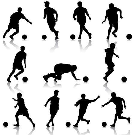 futbol soccer dibujos: siluetas de jugadores de f�tbol con la pelota. Ilustraci�n del vector.