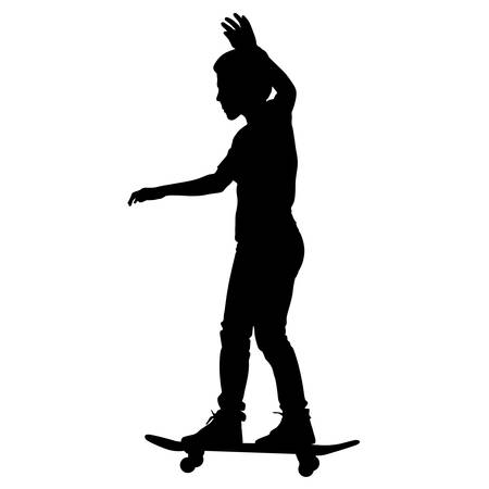 skateboarders silhouette. Vector illustration. Vector