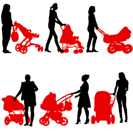 perambulator: Silhouettes  walkings mothers with baby strollers. Vector illustration.