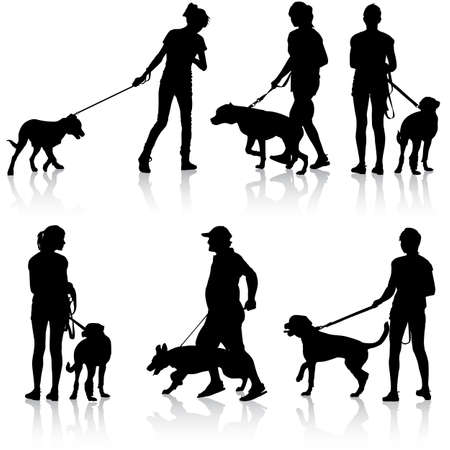 dog leash: Silhouettes of people and dogs. Vector illustration. Illustration