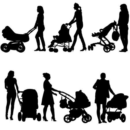 babysitter: Silhouettes  walkings mothers with baby strollers. Vector illustration.