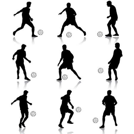 silhouettes of soccer players with the ball. Vector illustration. Vector