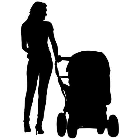 Silhouettes  walkings mothers with baby strollers. Vector illustration. Vector
