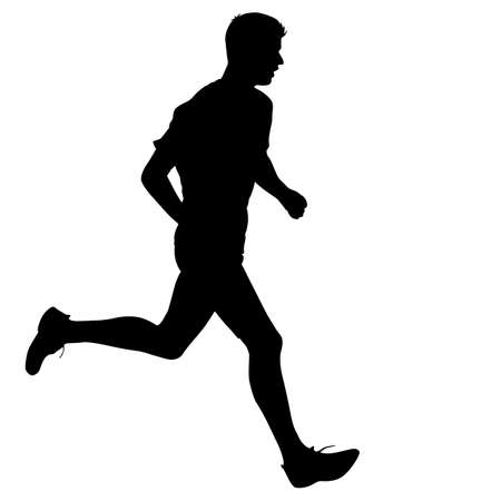 adult man: Silhouettes. Runners on sprint, men. vector illustration.