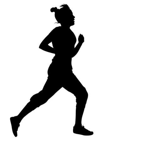 road runner: Silhouettes. Runners on sprint, women. vector illustration.