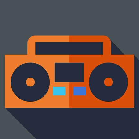 magnetofon: Nowoczesne mieszkanie koncepcja ikony. Boom box, magnetofon. Ilustracji wektorowych.