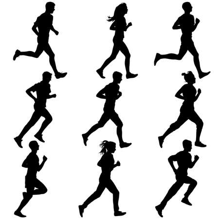 Set of silhouettes. Runners on sprint, men. vector illustration. Фото со стока - 34325514