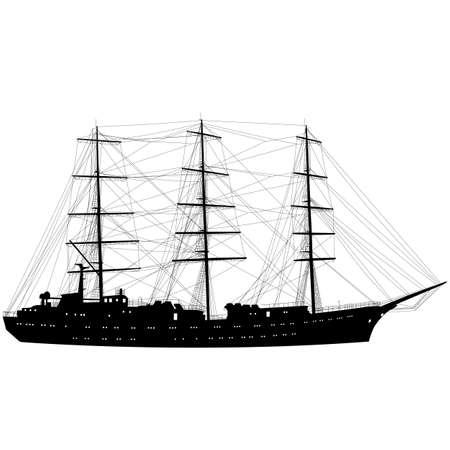rope ladder: Navegaci�n de la nave barco silueta aislados sobre fondo blanco. Ilustraci�n del vector.