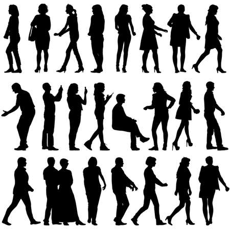 sexy model: Black silhouettes of beautiful mans and womans on white background. Vector illustration. Illustration