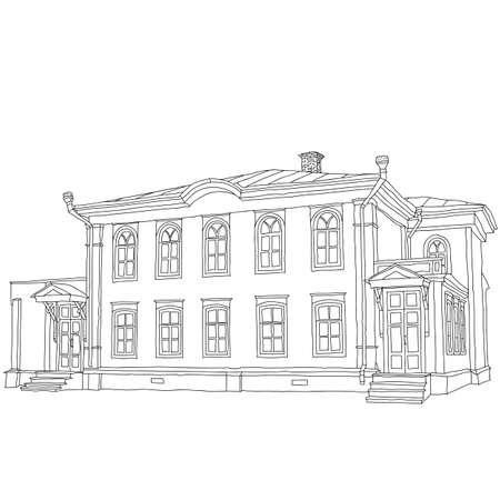 lenin: House sketch two-storey wooden house Ulyanov Lenin. Vector illustration. Illustration