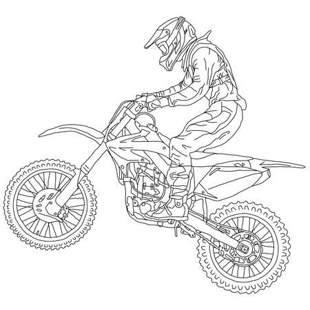 silhouettes Motocross rider on a motorcycle. Vector illustrations. Vettoriali