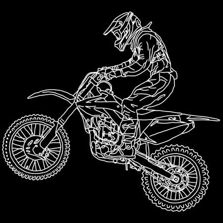 silhouettes Motocross rider on a motorcycle. Vector illustrations. Illustration