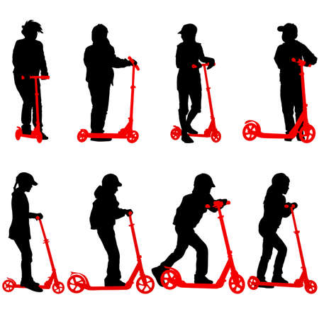 Set of silhouettes of children riding on scooters. Vector illustration. Vector