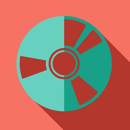 cd r: Modern flat design concept icon. CD or DVD computer disk diskette.  Vector illustration. Illustration