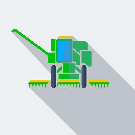 agricultural application tractor: Modern flat design concept icon combine harvester. Vector illustration. Illustration