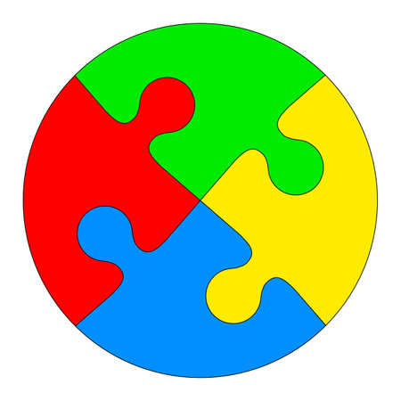 Jigsaw puzzle in the form of a colored circle. Vector illustration. Stock Illustratie