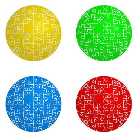 set form: Jigsaw puzzle set form of spheres  four colors. Vector illustration. Illustration