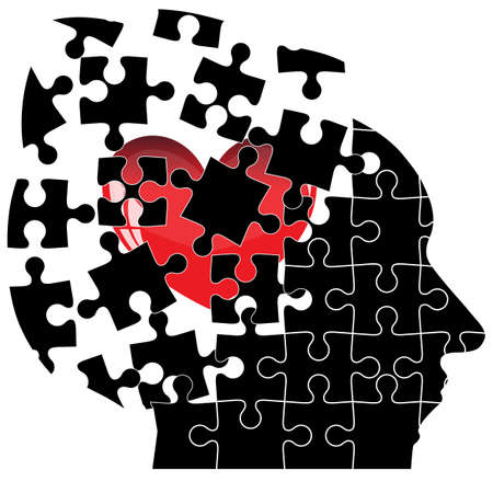 puzzle heart: Jigsaw Puzzle head man with a heart shatters into pieces. Vector illustration.