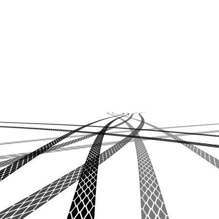 huellas de neumaticos: Conjunto de huellas de neumáticos detallados, ilustración vectorial