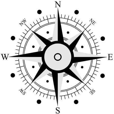 rosa vientos: Viento Negro rosa aisladas en blanco. Ilustraci�n del vector. Vectores