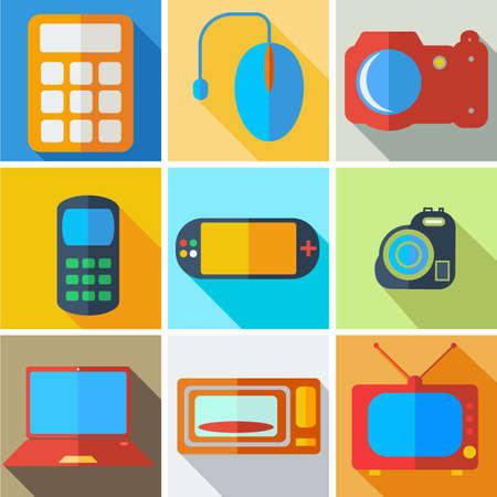 microwave antenna: Colecci�n moderna tecnolog�a inform�tica iconos planos con efecto de sombra larga para el dise�o. Ilustraci�n del vector.