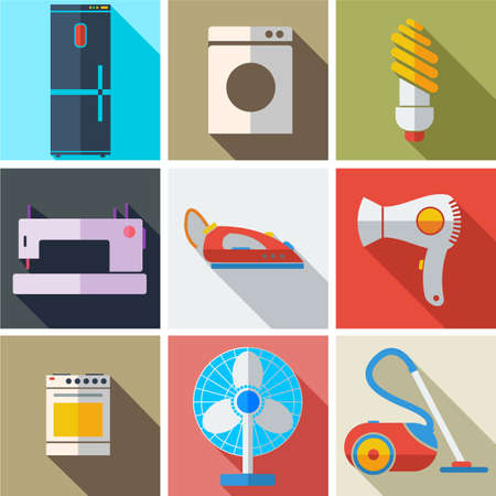 electronics: Collection modern flat icons household appliances with long shadow effect for design. Vector illustration.