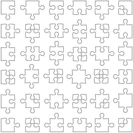 jigsaw set: Set of white jigsaw puzzles. Vector illustration. Illustration