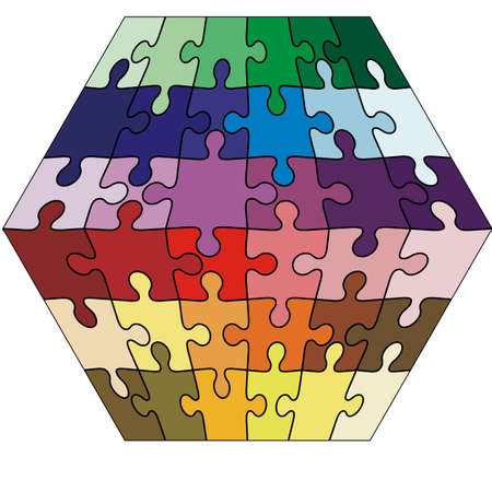 cuboid: Vector Illustration jigsaw puzzle cuboid.