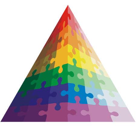 Jigsaw puzzle shape of a triangle,  colors  rainbow. Vector illustration. Vector