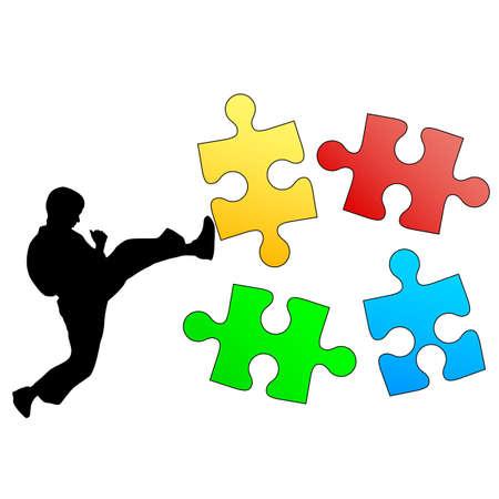 breaks: Jigsaw silueta rompecabezas de roturas de karate de la pierna. Ilustraci�n del vector.