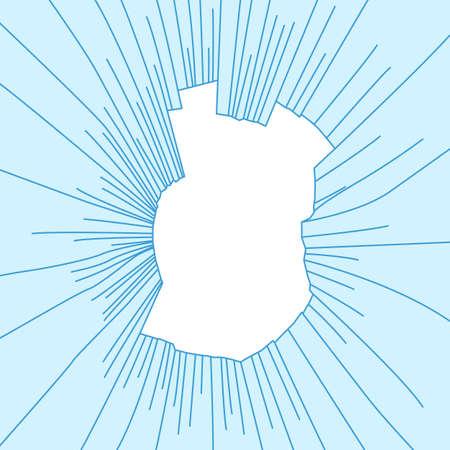 radial cracks: Radial cracks on broken blue glass. Vector illustration.