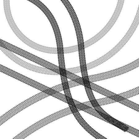 huellas de neumaticos: Conjunto de huellas de neum�ticos detallados, ilustraci�n vectorial