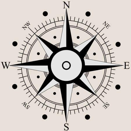 rosa de los vientos: Rosa de los vientos s�mbolos planos br�jula. Ilustraci�n del vector. Vectores