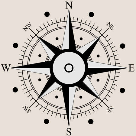 Wind rose compass flat symbols. Vector illustration. Vector