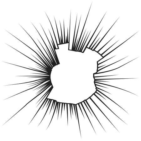 Radial cracks on broken white glass. Vector illustration. Vector