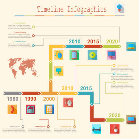 Infographic report templates in flat business elements map. Vector illustration. Vector