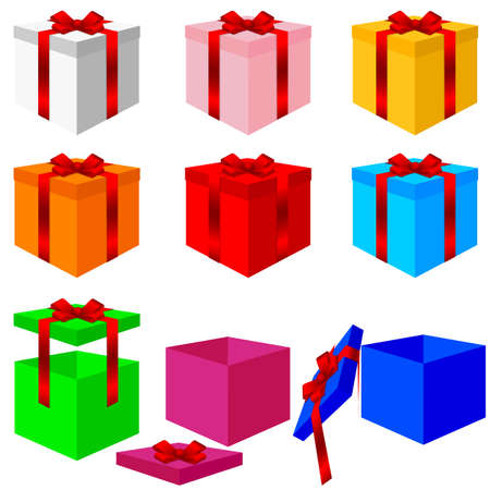 Set of colorful box christmas gifts. Vector illustration. Vector