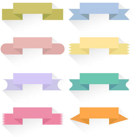 Modern colored ribbons and banners for your text. Isolated on white background. Vector illustration. Vector