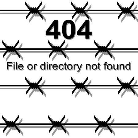 Barbed wire, the exclusion zone a message about Page not found Error 404 Vector