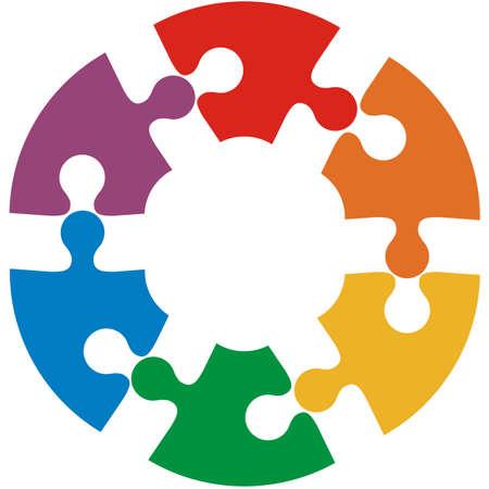 Six color puzzle circle. Vector illustration.