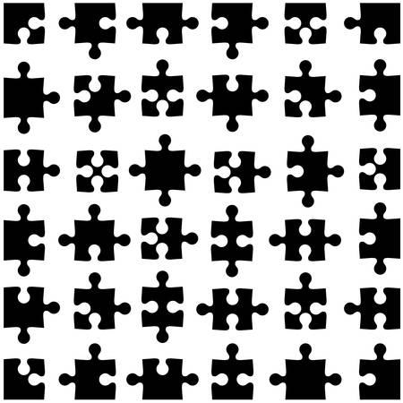 jigsaw set: Set of black jigsaw puzzles. Vector illustration. Illustration