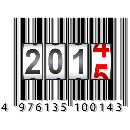 scaler: 2015 New Year counter, barcode, vector.