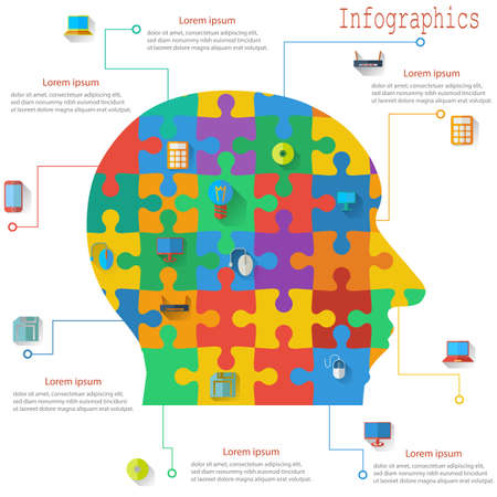 Infographics report templates in the form of the head of the jigsaw puzzle elements. Vector illustration.