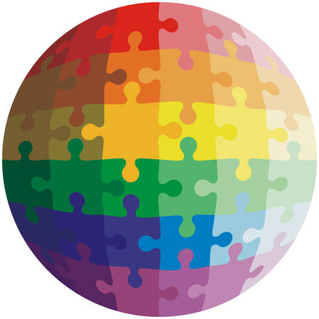 puzzle background: Jigsaw puzzle shape of a ball,  colors  rainbow. Vector illustration.