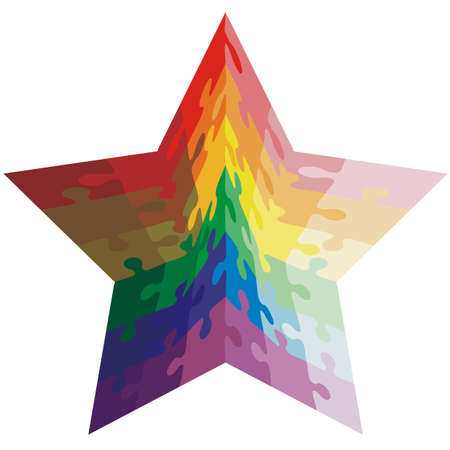 star shaped: Jigsaw puzzle shape of a star shaped,  colors  rainbow. Vector illustration.