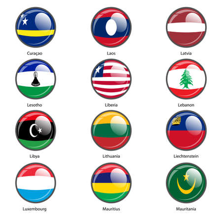 mauritania: Set circle icon  Flags of world sovereign states. Vector illustration.