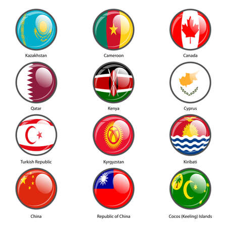 cocos: Set circle icon  Flags of world sovereign states. Vector illustration.