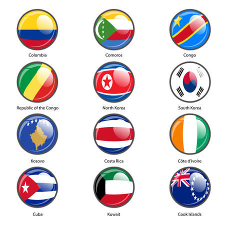 world flags: Set circle icon  Flags of world sovereign states. Vector illustration.