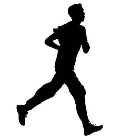 young man: Running black silhouettes. Vector illustration.